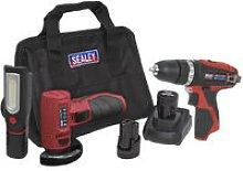 CP1210LEDCOMBO 12V Cordless Tool Kit 3pcs - Sealey