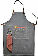 CPTDCL Unisex Gray Manual Denim Bib Aprons Leather