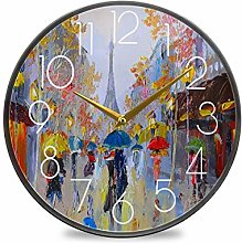 CPYang 12 Inch Wall Clock Oil Painting Paris