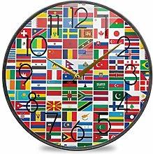 CPYang 9.5 Inch Wall Clock World Flag Print Silent