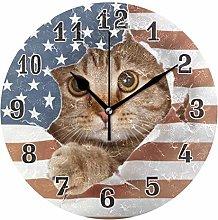 CPYang American Flag Animal Cat Wall Clock, Silent