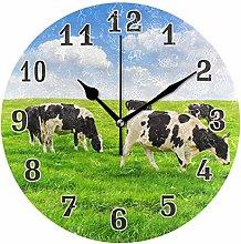 CPYang Animal Cow Grassland Wall Clock, Silent