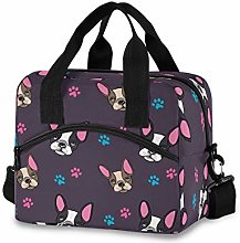CPYang Animal French Bulldog Paw Print Lunch Bag