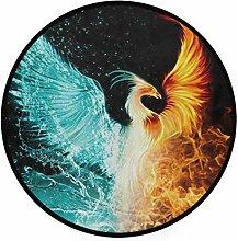 CPYang Area Rug Animal Bird Phoenix Non-Slip Round