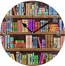 CPYang Bookshelf Room Library Wall Clock, Silent