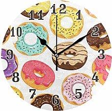 CPYang Colorful Donut Print Wall Clock, Silent