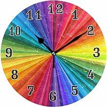 CPYang Colorful Rainbow Pattern Wall Clock, Silent