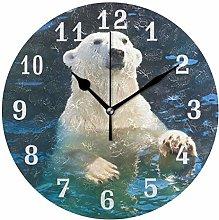 CPYang Cute Animal Polar Bear Wall Clock, Silent