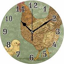 CPYang Cute Hen Chick Wall Clock, Silent