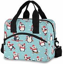 CPYang Cute Winter Christmas Penguin Lunch Bag