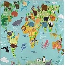 CPYang Dinner Cloth Napkins Animal World Map Set
