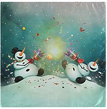 CPYang Dinner Cloth Napkins Funny Winter Snowman