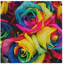 CPYang Dinner Cloth Napkins Rainbow Rose Flower