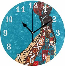CPYang Ethnic African Woman Wall Clock, Silent