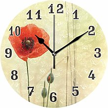 CPYang Floral Flower Poppy Wall Clock, Silent
