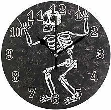 CPYang Funny Skull Skeleton Wall Clock, Silent