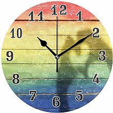 CPYang LGBT Love Rainbow Beach Wood Wall Clock,