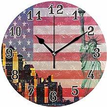 CPYang Liberty Statue American Flag Wall Clock,