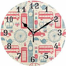 CPYang London Eye Big Ben UK Flag Wall Clock,