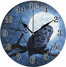 CPYang Moon Tree Animal Owl Wall Clock, Silent