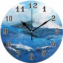 CPYang Ocean Sea Animal Dolphin Wall Clock, Silent
