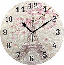 CPYang Paris Eiffel Tower Flower Wall Clock,