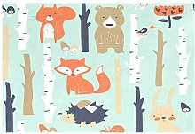CPYang Placemats Set of 1, Forest Tree Animal Fox