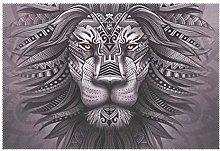 CPYang Placemats Set of 1, Tribal Animal Lion