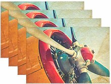 CPYang Placemats Set of 4, Airplane Paddle Pattern