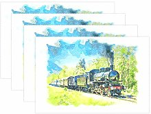 CPYang Placemats Set of 4,Ancient Train Place Mats