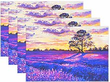 CPYang Placemats Set of 4,Art Painting Lavender