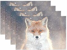 CPYang Placemats Set of 4, Cute Winter Animal Fox