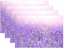 CPYang Placemats Set of 4, Flower Lavender Pattern