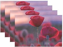 CPYang Placemats Set of 4,Flower Poppy Field Place