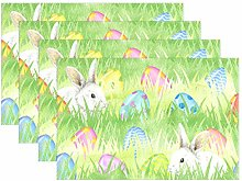 CPYang Placemats Set of 4, Happy Easter Bunny Egg