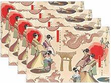 CPYang Placemats Set of 4, Japanese Women Oriental