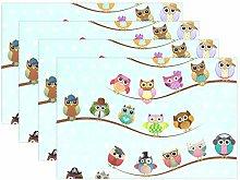 CPYang Placemats Set of 4,Polka Dot Cute Animal