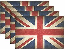 CPYang Placemats Set of 4,Vintage Uk Flag Union
