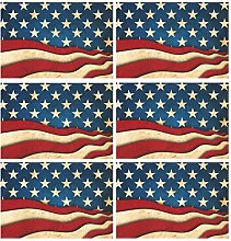 CPYang Placemats Set of 6, 4Th Of July American