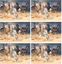 CPYang Placemats Set of 6, Animal Horse Print