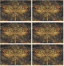 CPYang Placemats Set of 6,Tribal Dragonfly Place