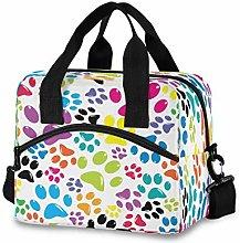 CPYang Rainbow Cat Dog Paw Print Lunch Bag