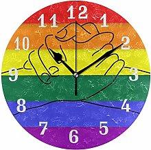CPYang Rainbow Flag LGBT Pride Wall Clock, Silent