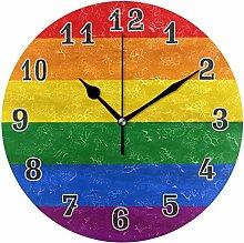 CPYang Rainbow Lgbt Pride Wall Clock, Silent