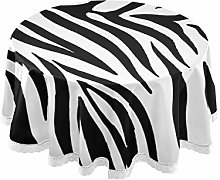 CPYang Round Tablecloth Animal Zebra Print