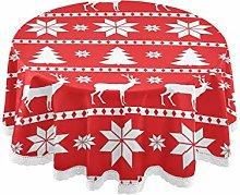 CPYang Round Tablecloth Christmas Snowflake Animal