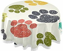 CPYang Round Tablecloth Colorful Dog Cat Paw Print