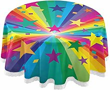 CPYang Round Tablecloth Colorful Rainbow Star