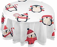 CPYang Round Tablecloth Cute Animal Christmas