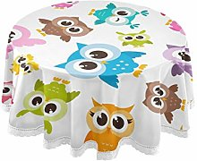 CPYang Round Tablecloth Cute Colorful Animal Owl